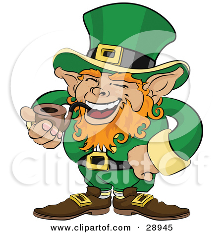 Leprechaun With Red Hair Dressed In Green And Laughing While Smoking A Tobacco Pipe Tattoo Design