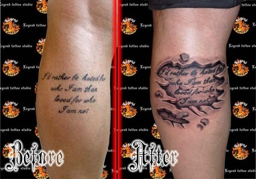 Lettering Tattoo Stages