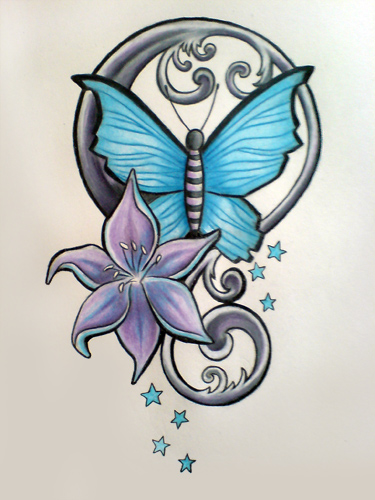 Lily Butterfly Combo Tattoo Design