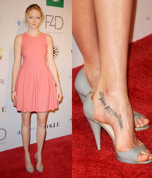 Lily Cole Lettering Tattoo On Foot