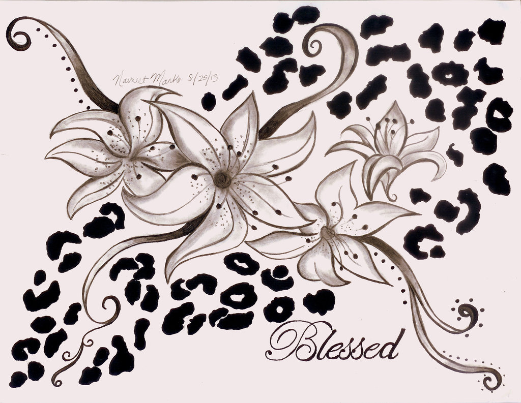 Lily Flowers And Cheetah Print Tattoo Design
