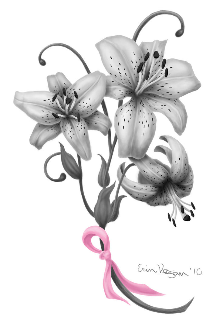 Lily Flowers n Breast Cancer Ribbon Tattoo Design