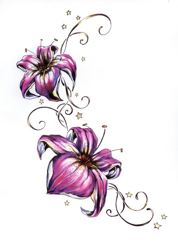 Lily Flowers With Stars Tattoo Design