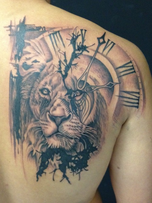 Lion And Clock Tattoo On Back Shoulder