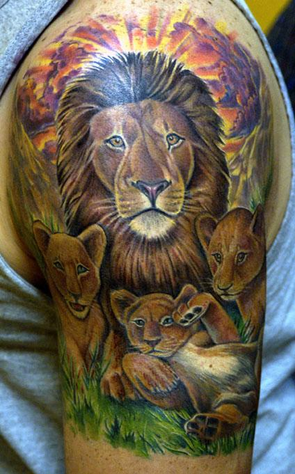 Lion And Cubs Tattoo On Right Half Sleeve