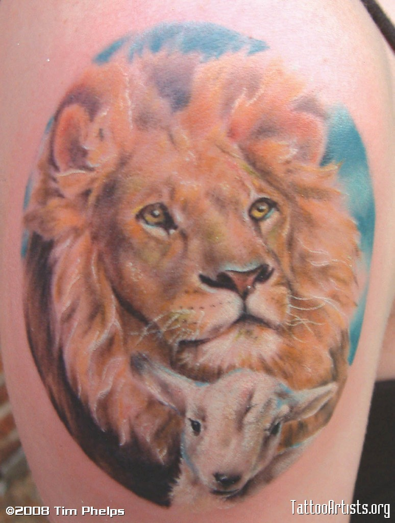 Lion And Lamb Tattoo Design