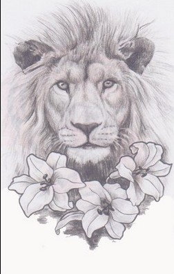 Lion And Lily Flowers Tattoo Sketch
