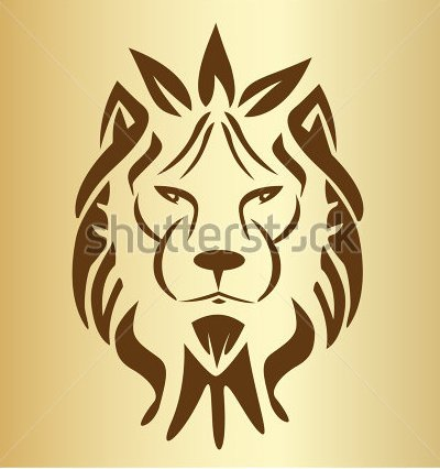 Lion Face Vintage Silhouette Tattoo Design