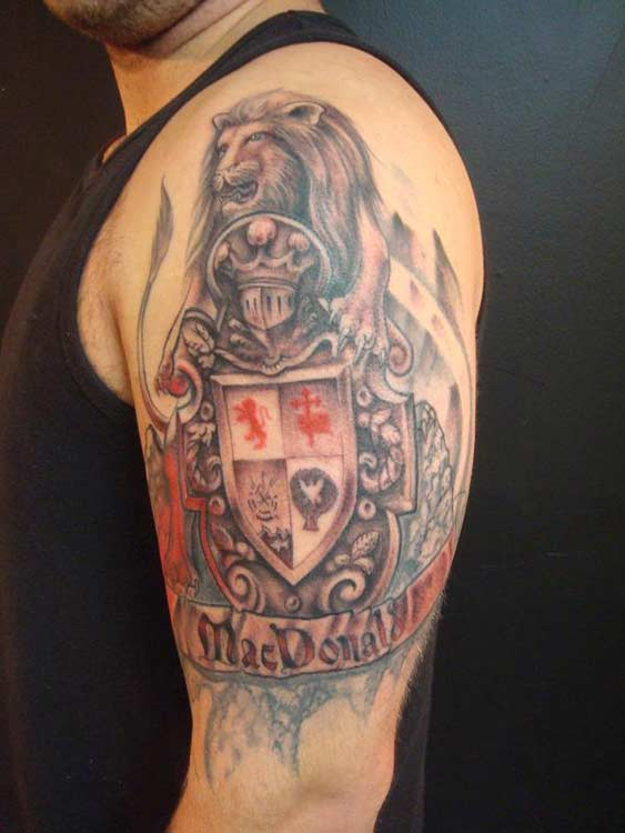 Lion Family Crest Tattoo On Shoulder