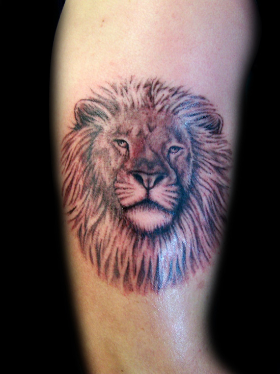 Lion Head Tattoo On Arm