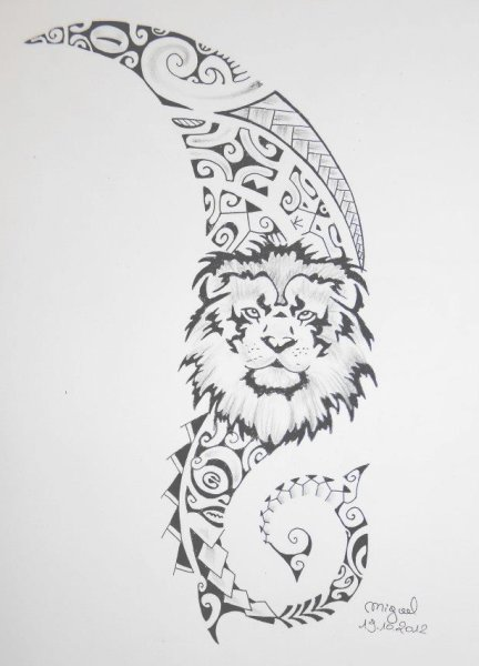 Lion Maori Polynesian Tattoo Design