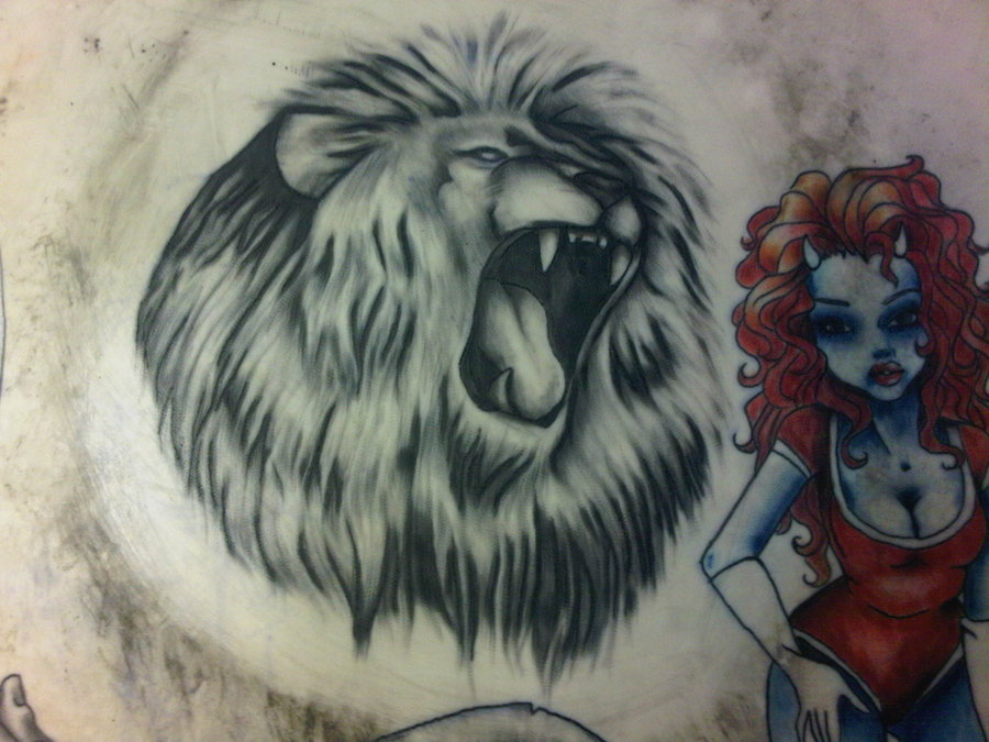 Lion Roar In Black And White Tattoo Style