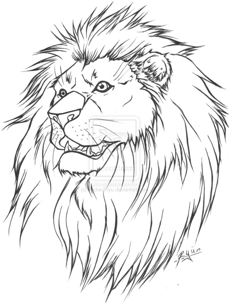Lion Tattoo Lineart Version