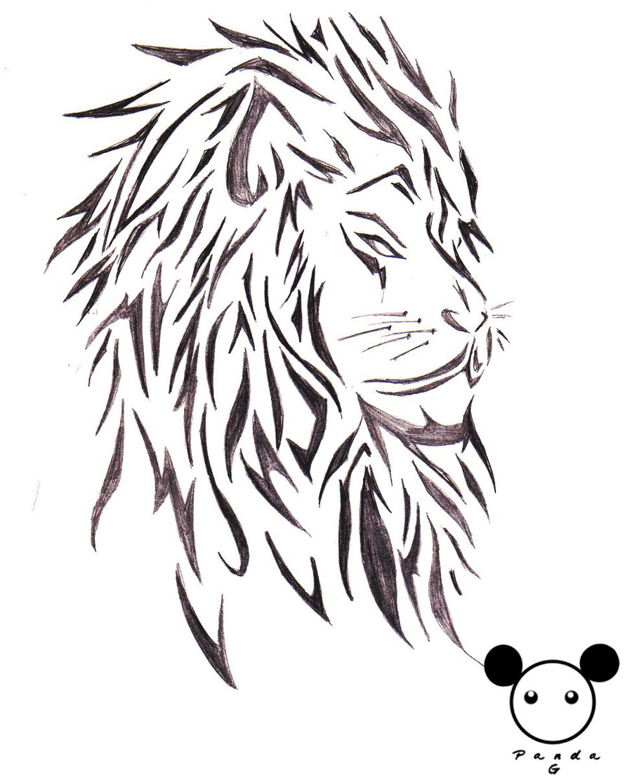 Lion Tribal Tattoo Design Over White Background