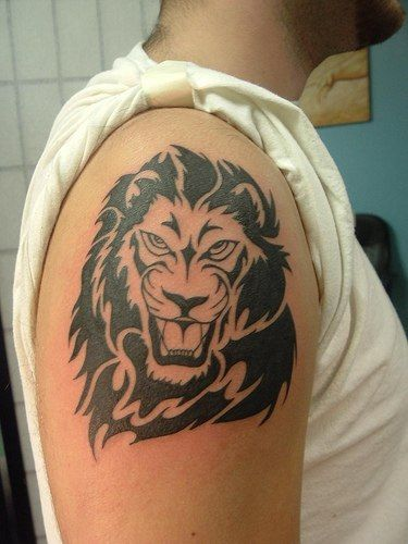 Lion Tribal Tattoo On Shoulder For Guys