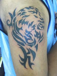 Lion Tribal Tattoo On Shoulder For Men