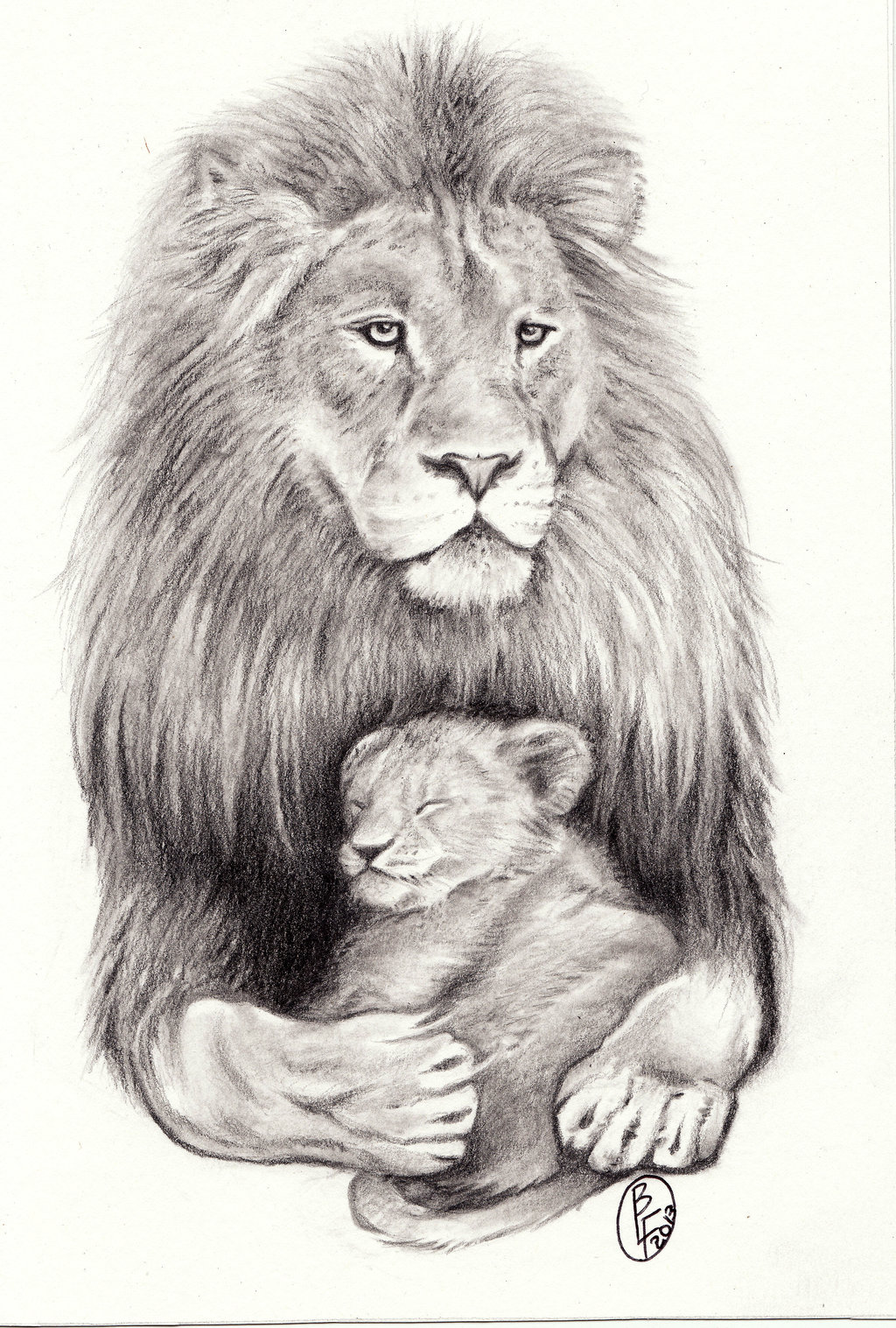 Lion With Sleeping Cub Tattoo Design