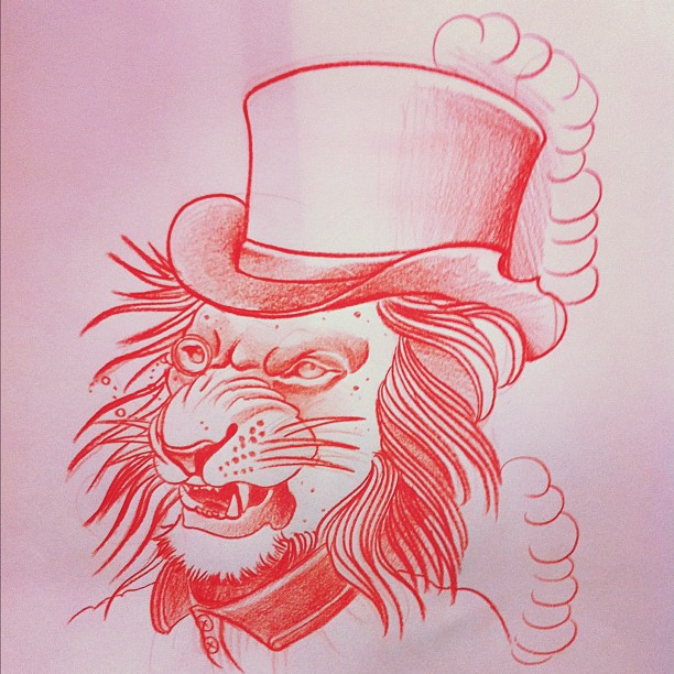 Lion With Top Hat Tattoo Design