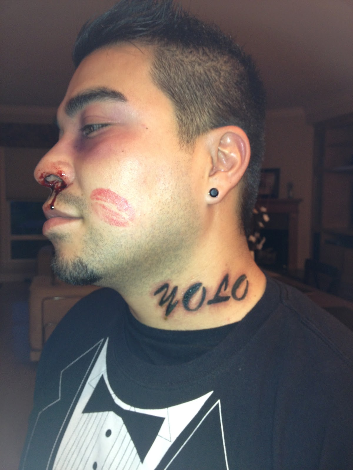 Lips Kiss Tattoo On Face For Men