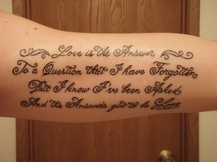 Love Lettering Tattoo On Arm