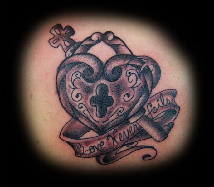 Love Never Fails Heart Lock n Key Tattoo Design