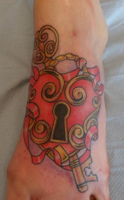 Lovely Heart Lock n Key Tattoo On Foot