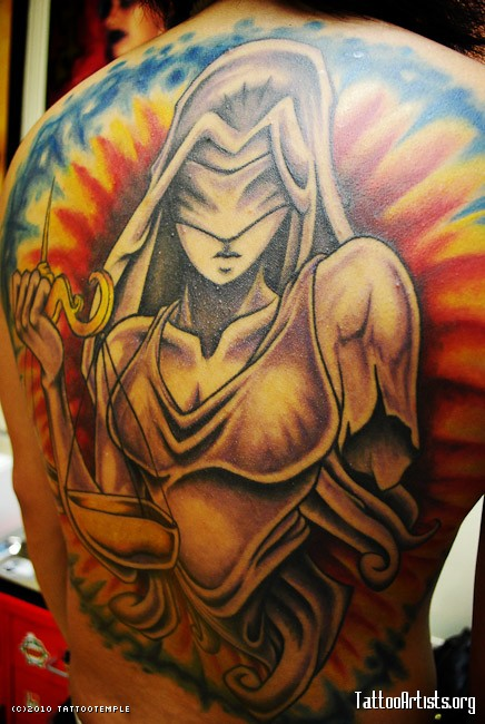 Lovely Lady Justice Tattoo On Back Body