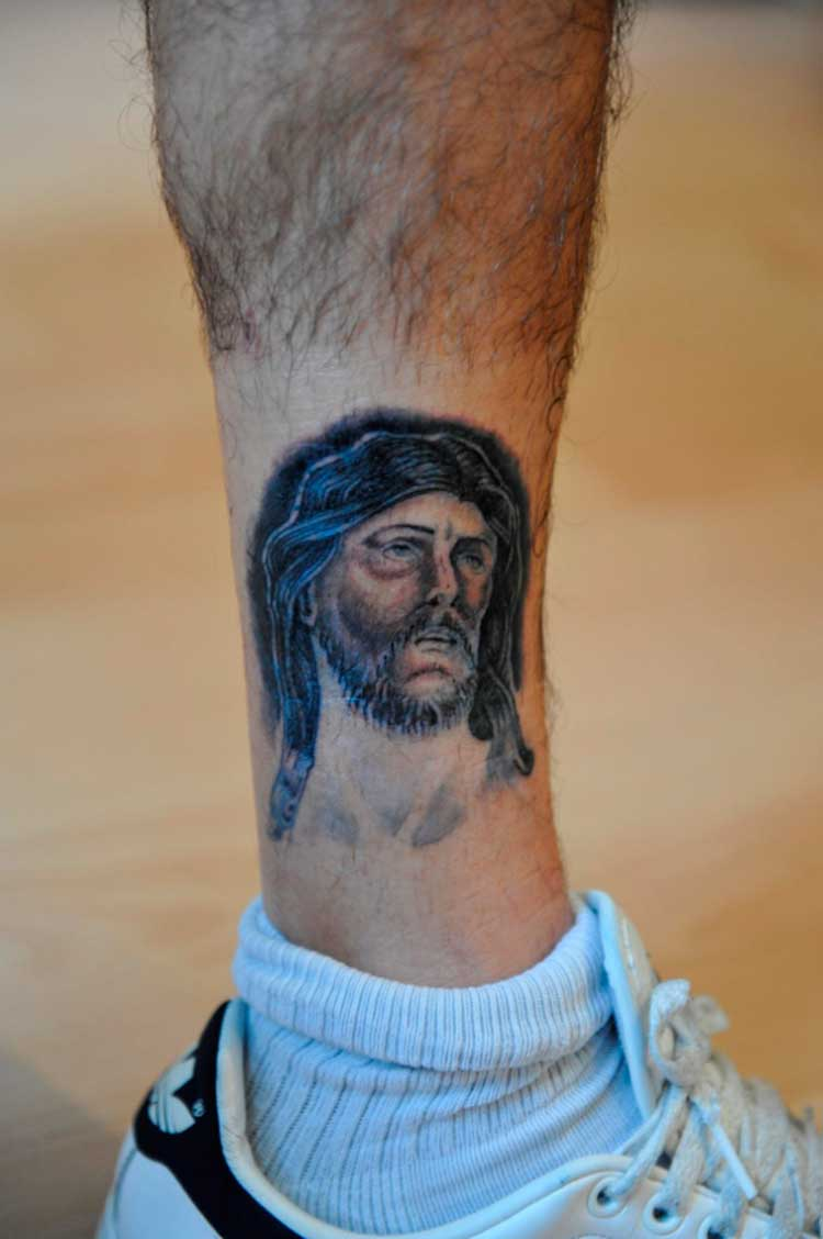 Lower Leg Jesus Tattoo Design