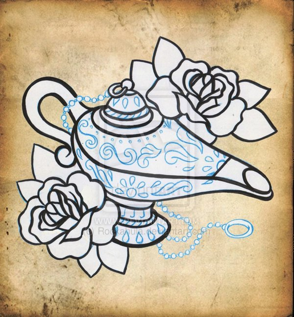 Magic Lamp n Roses Tattoo Poster