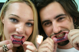 Matching Meow Lip Tattoo For Couple