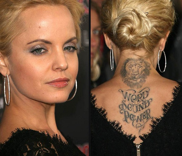 Mena Suvari Lion And Quote Tattoo On Back Neck
