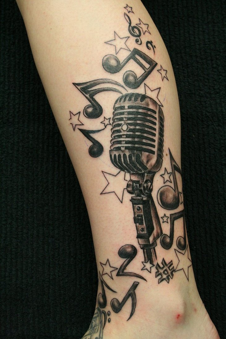 Mic Notes Leg Tattoo Designs