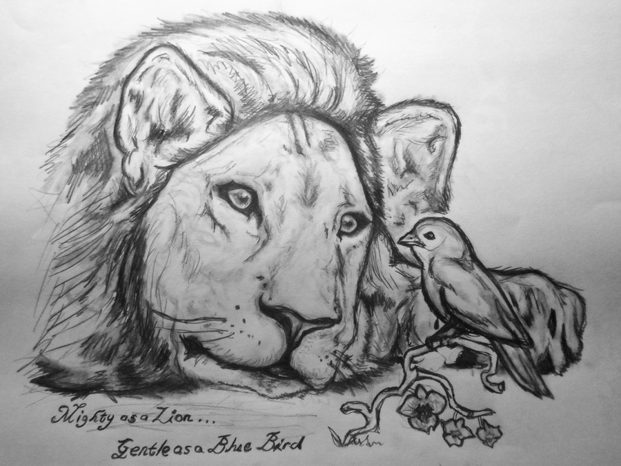 Mighty As A Lion Tattoo Sketch