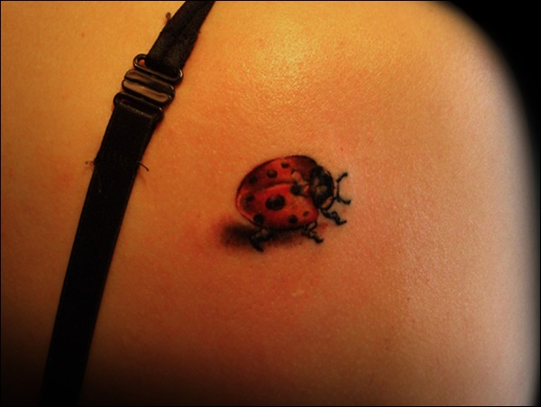 Moving Ladybug Tattoo On Back