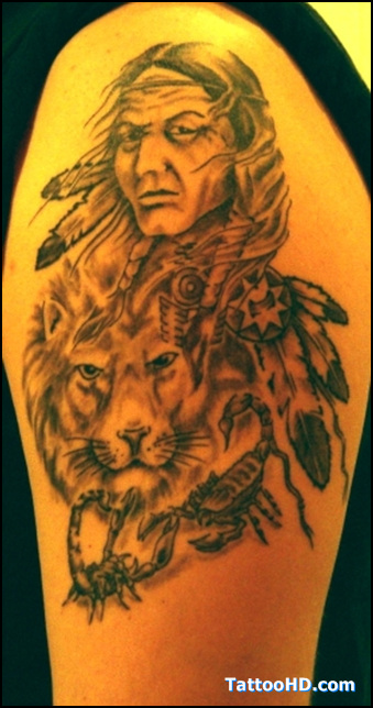 Native American Woman And Lion Tattoo On Arm