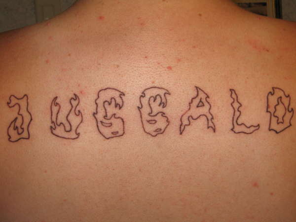 Nice Juggalo Text Tattoo On Back