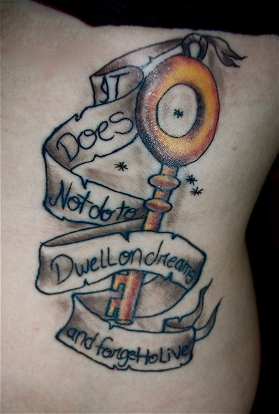 Nice Key With Banner Tattoo Design