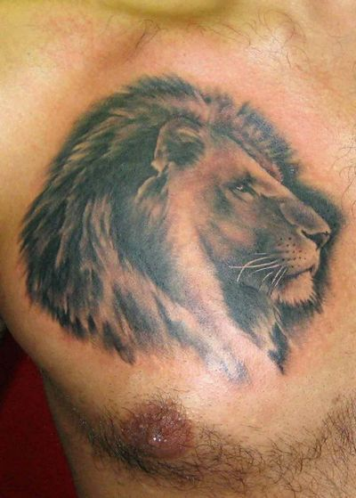 Nice Lion Head Tattoo On Chest For Men