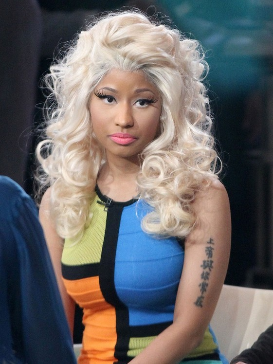 Nicki Minajs Lettering Tattoo On Upper Arm