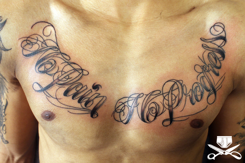 No Pain Lettering Tattoo On Chest