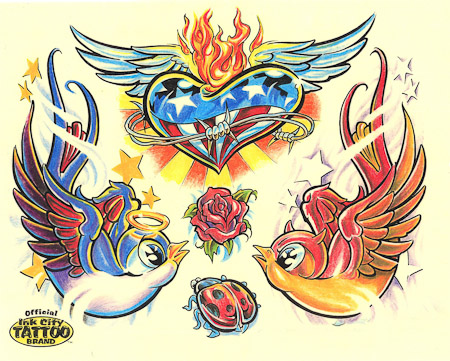 Old School Color Comic Bird Angel Demon Heart Wings Ladybug Tattoo Design