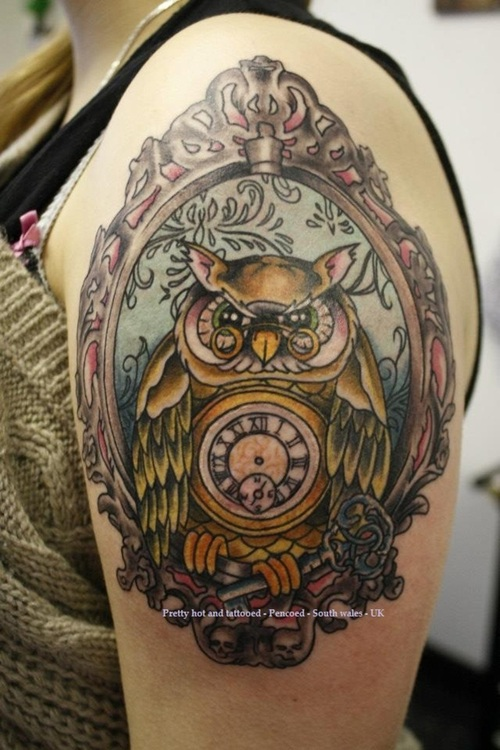 Owl Clock With Key Tattoo On Upper Arm