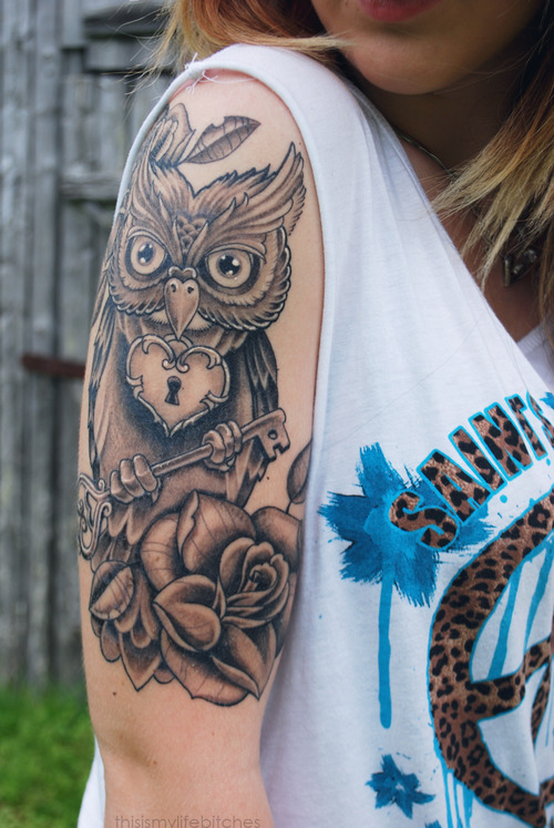Owl Heart Key n Rose Tattoo On Upper Arm