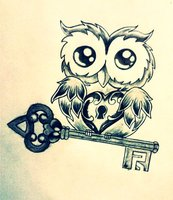 Owl Heart n Key Tattoo Design