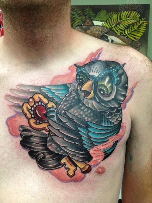 Owl  With Key Tattoo On Chest For Men