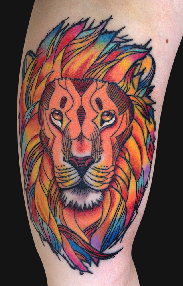 Pen And Ink Style Lion Tattoo Design