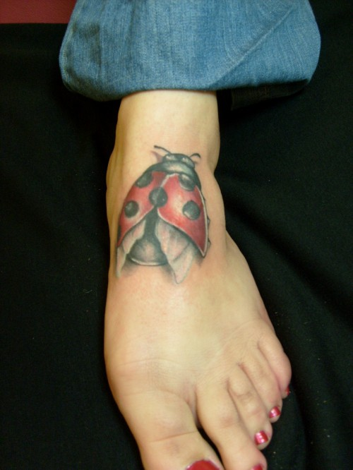 Perfect Ladybug Tattoo On Foot For Girls