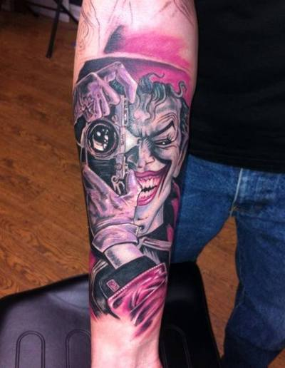 Photographer Joker Tattoo On Arm