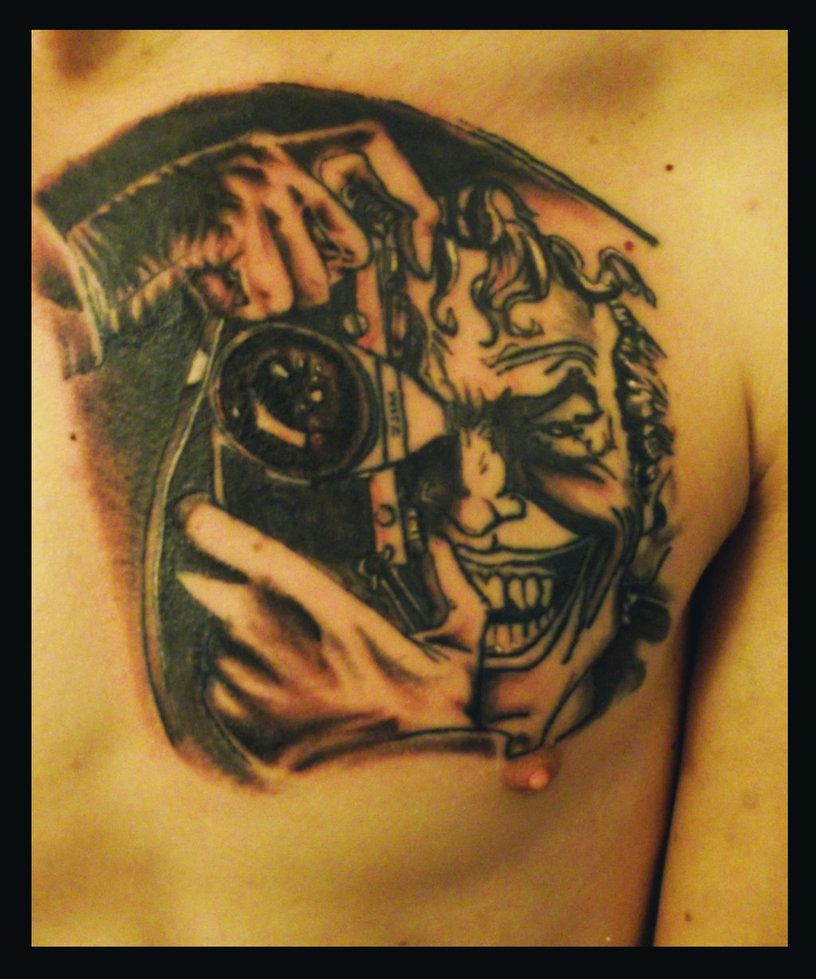 Photographer Joker Tattoo On Chest