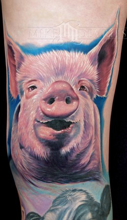 Pig Head Knee Tattoo Design